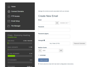 Create Email account with Control Panel