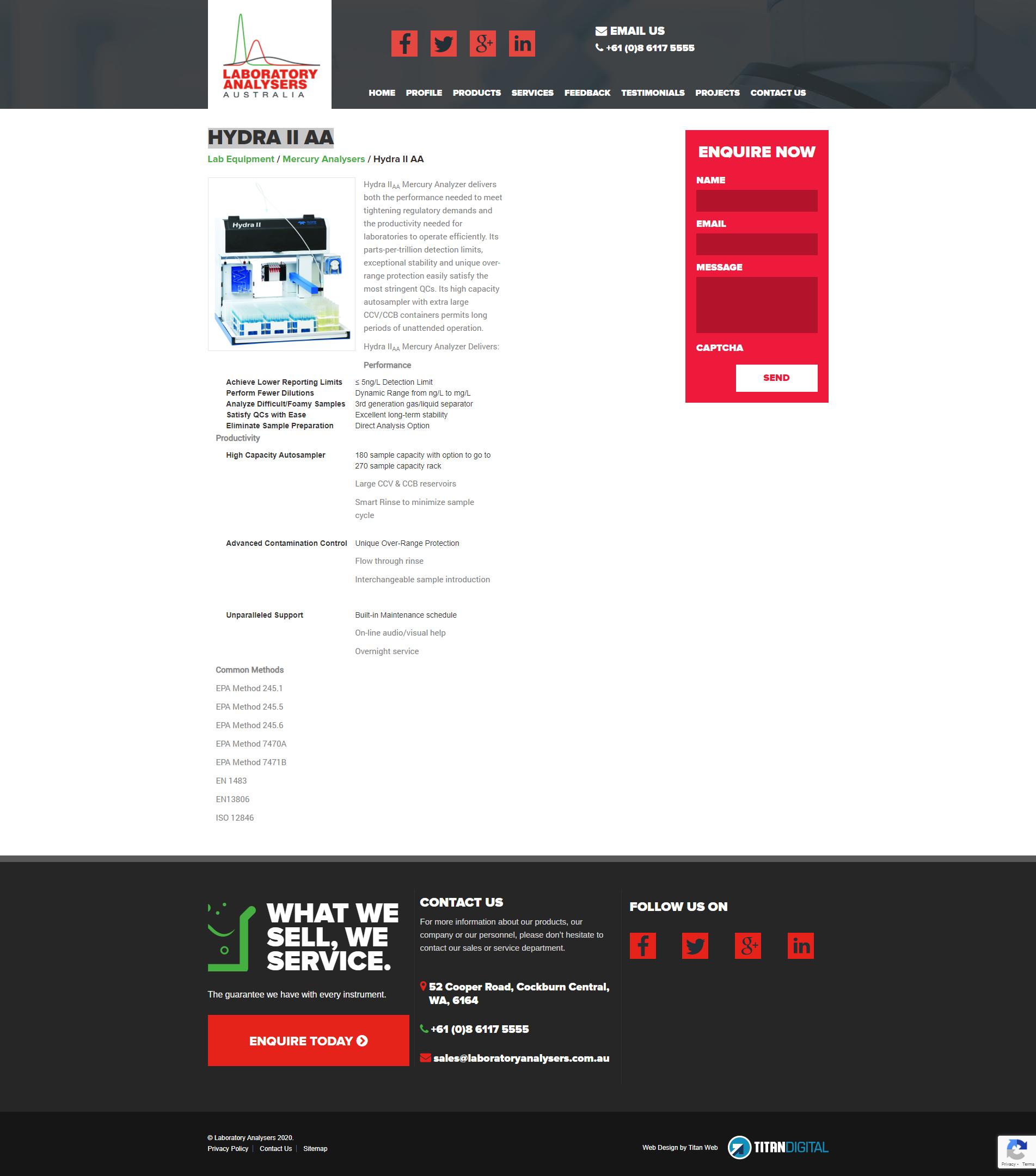 Laboratory Analysers  Australia  Original website Products page